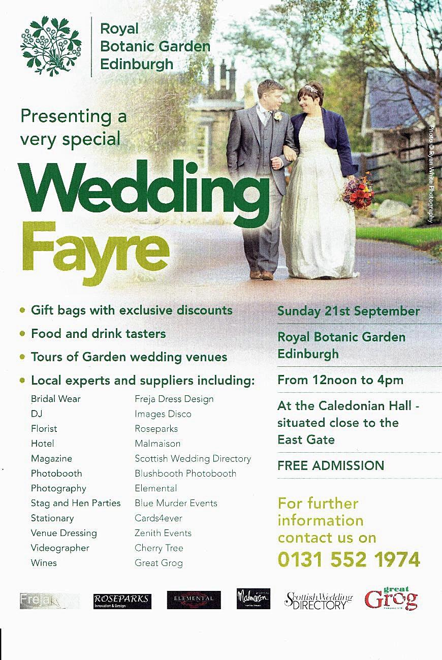 Wedding Fayre Royal Botanic Garden Edinburgh Roseparks